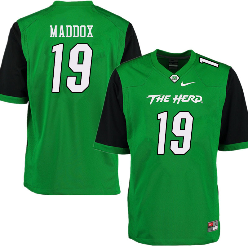 Men #19 Jeremiah Maddox Marshall Thundering Herd College Football Jerseys Sale-Green