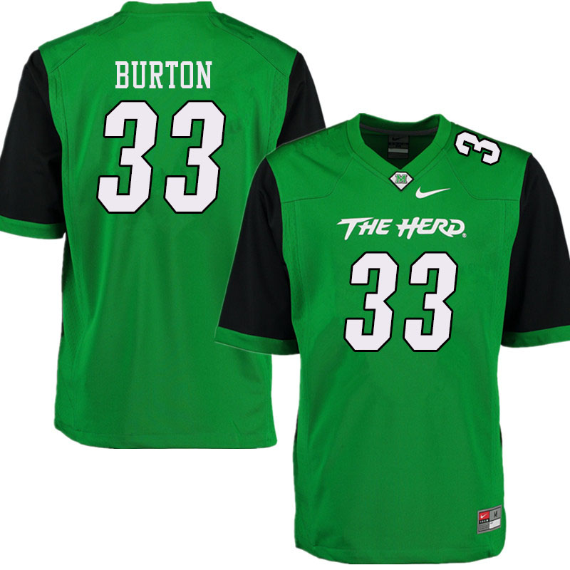 Men #33 Sam Burton Marshall Thundering Herd College Football Jerseys Sale-Green