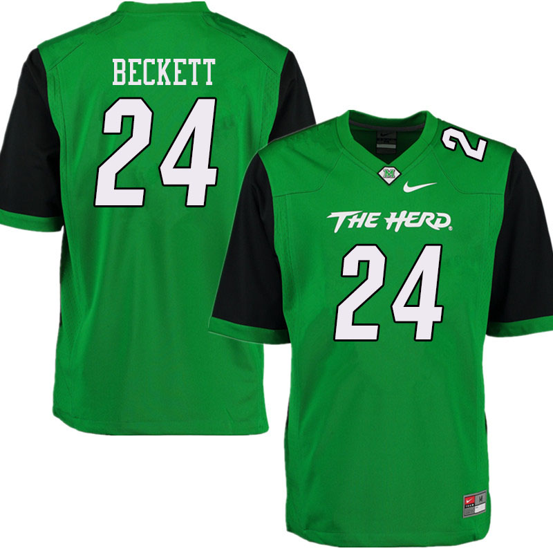 Men #24 Tavante Beckett Marshall Thundering Herd College Football Jerseys Sale-Green