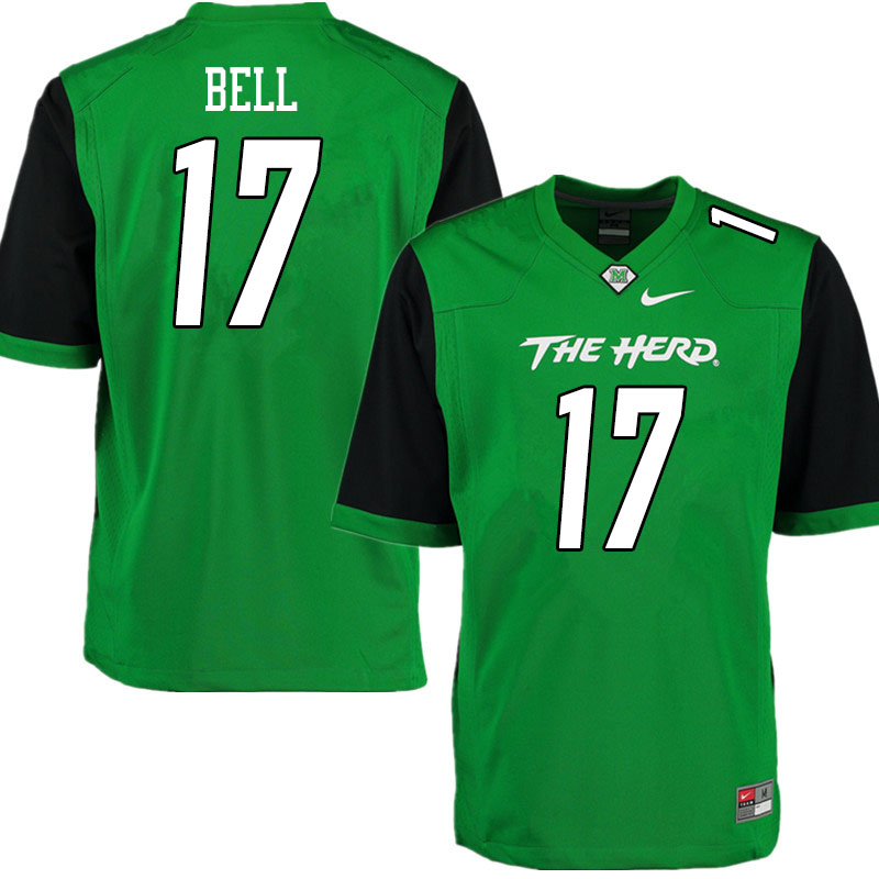 Men #17 Charles Bell Marshall Thundering Herd College Football Jerseys Sale-Gren