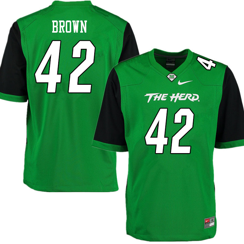 Men #42 Eric Brown Marshall Thundering Herd College Football Jerseys Sale-Gren