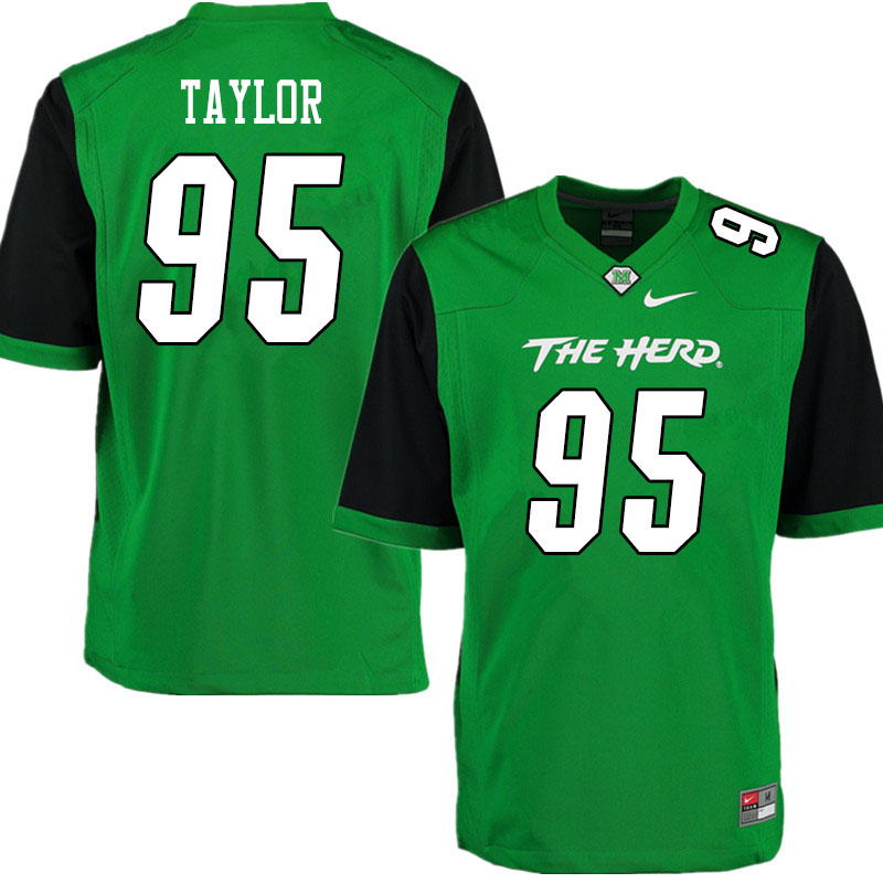 Men #95 Kyron Taylor Marshall Thundering Herd College Football Jerseys Sale-Gren