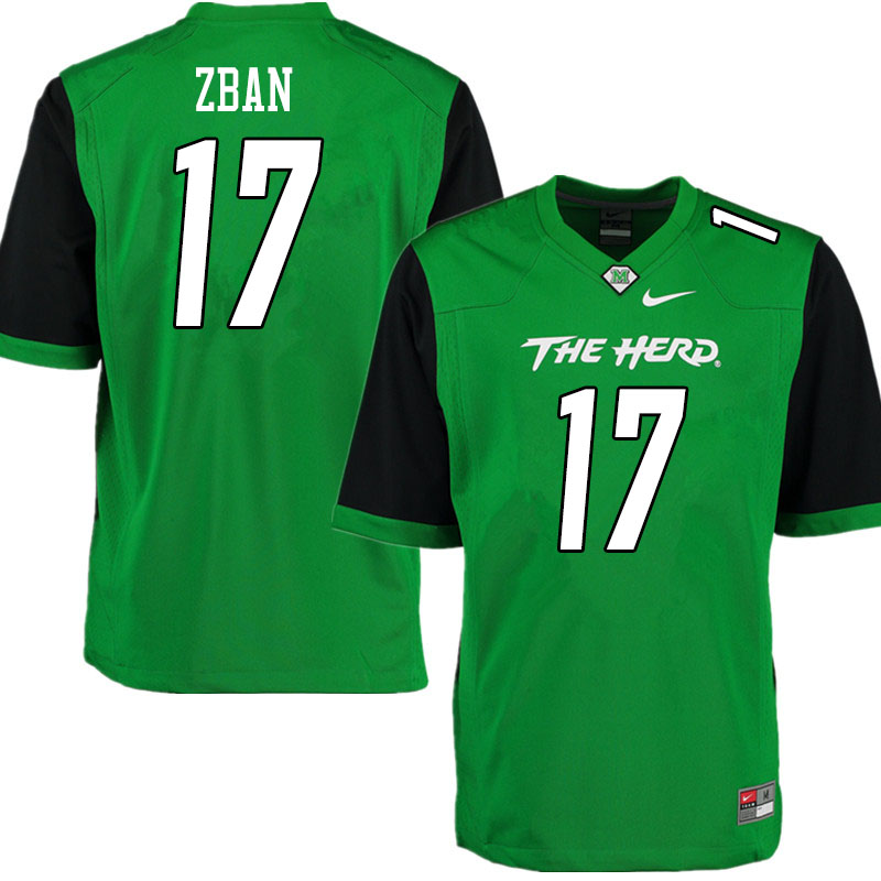 Men #17 Luke Zban Marshall Thundering Herd College Football Jerseys Sale-Gren
