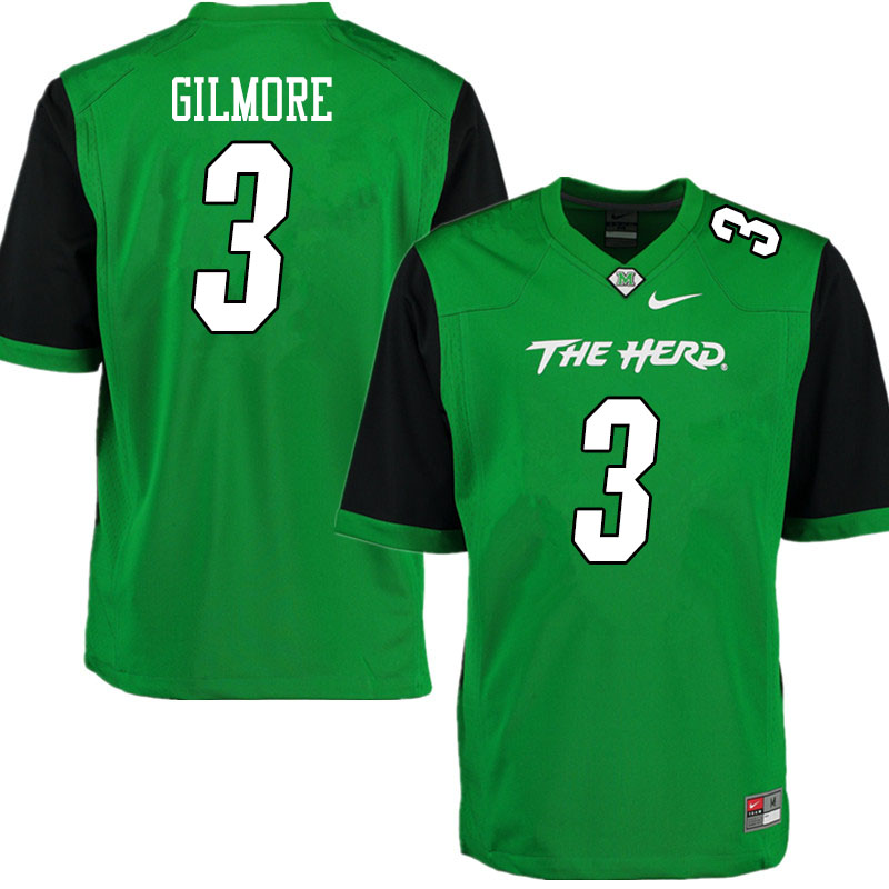 Men #3 Steven Gilmore Marshall Thundering Herd College Football Jerseys Sale-Gren