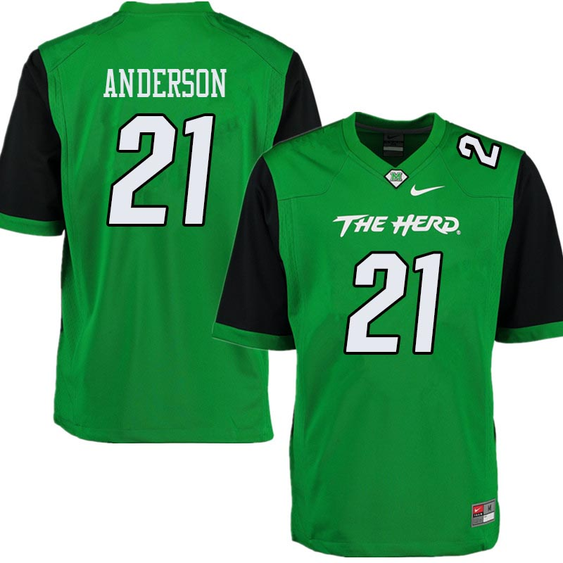 Men #21 Anthony Anderson Marshall Thundering Herd College Football Jerseys Sale-Green