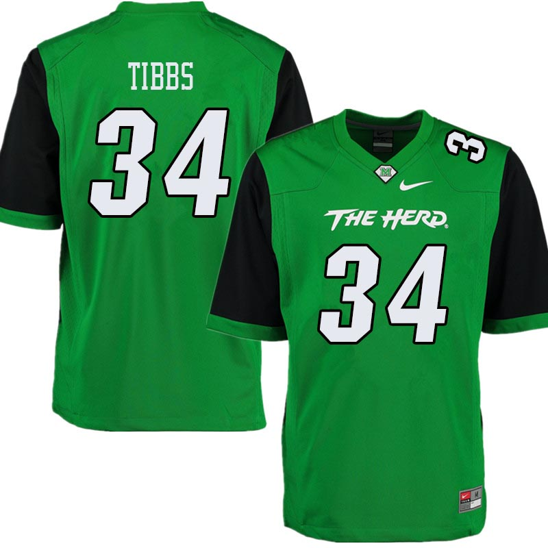 Men #34 Brennon Tibbs Marshall Thundering Herd College Football Jerseys Sale-Green
