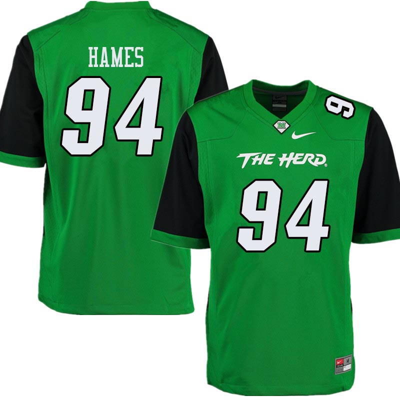 Men #94 Channing Hames Marshall Thundering Herd College Football Jerseys Sale-Green