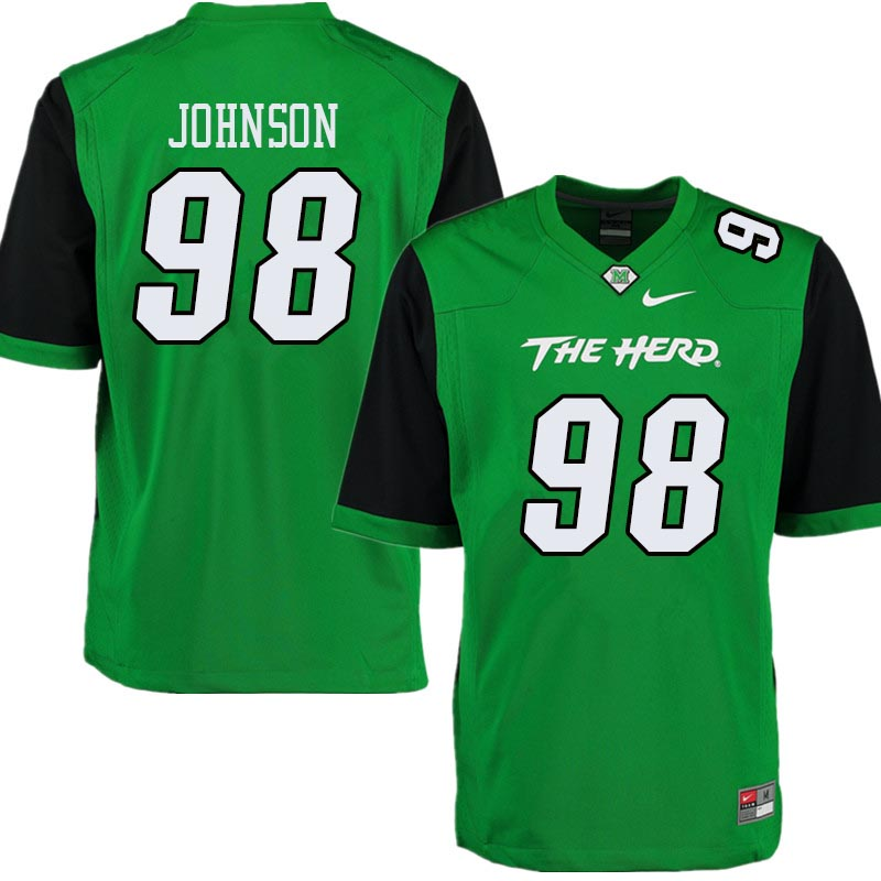Men #98 Charkie Johnson Marshall Thundering Herd College Football Jerseys Sale-Green