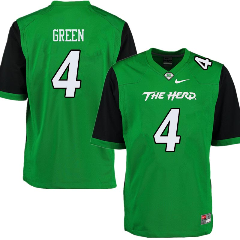 Men #4 Donquell Green Marshall Thundering Herd College Football Jerseys Sale-Green