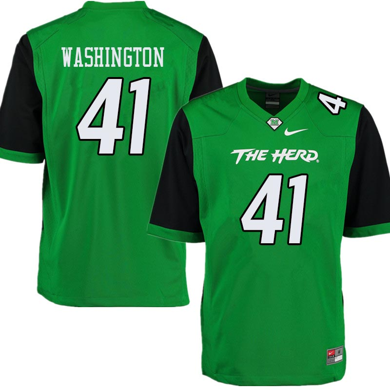 Men #41 Nirion Washington Marshall Thundering Herd College Football Jerseys Sale-Green