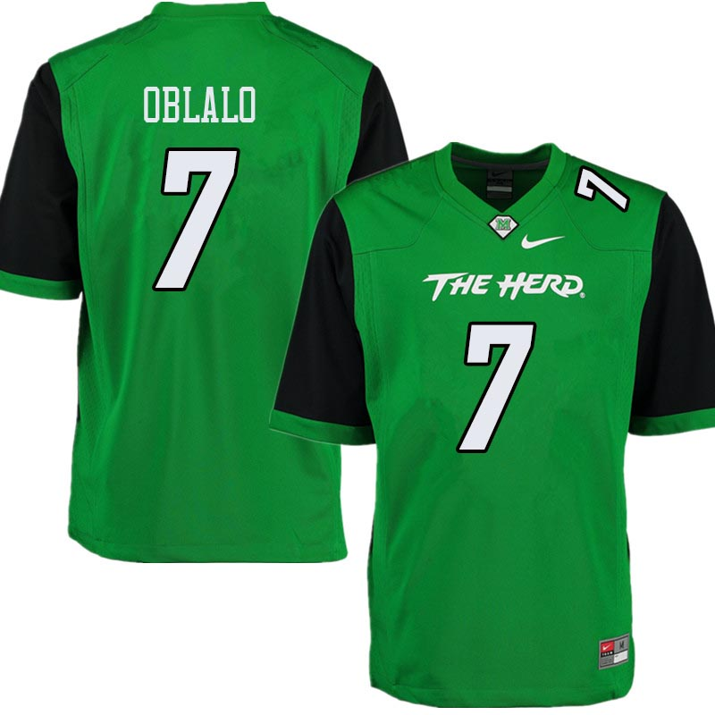 Men #7 Obi Oblalo Marshall Thundering Herd College Football Jerseys Sale-Green
