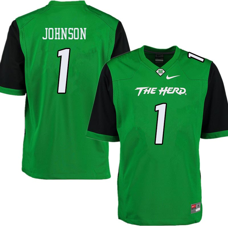 Men #1 Willie Johnson Marshall Thundering Herd College Football Jerseys Sale-Green