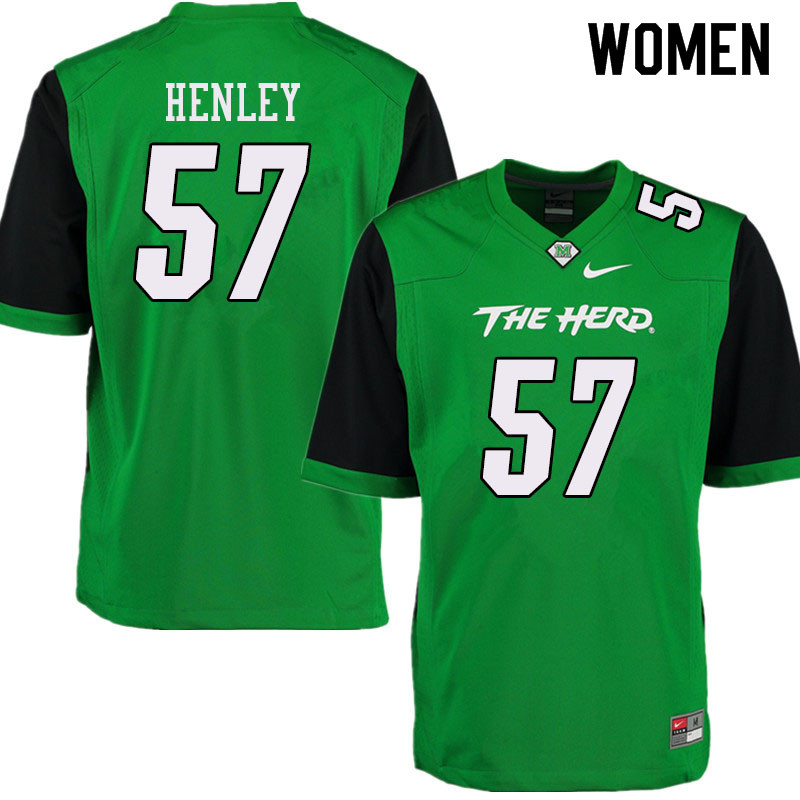 Women #57 Adrian Henley Marshall Thundering Herd College Football Jerseys Sale-Green
