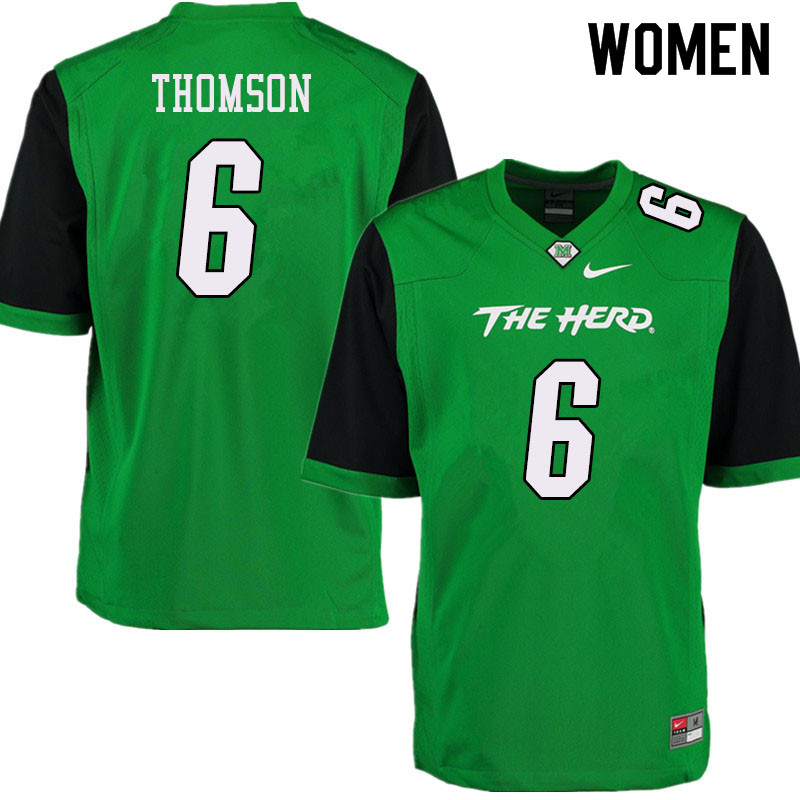 Women #6 Alex Thomson Marshall Thundering Herd College Football Jerseys Sale-Green