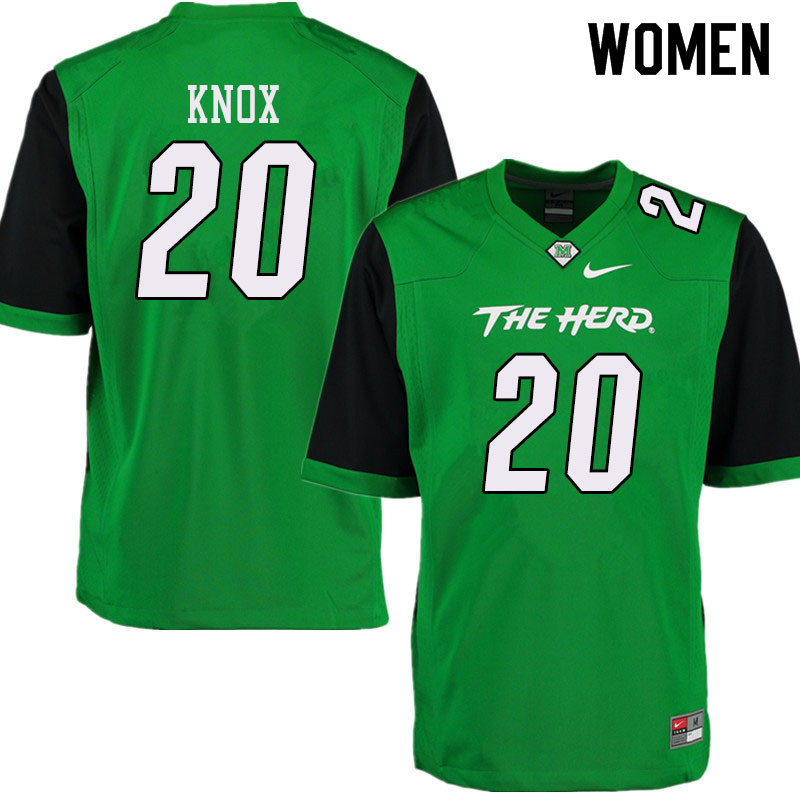 Women #20 Brenden Knox Marshall Thundering Herd College Football Jerseys Sale-Green