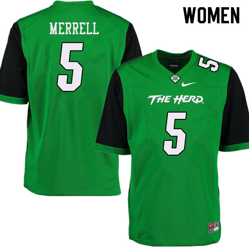 Women #5 Kereon Merrell Marshall Thundering Herd College Football Jerseys Sale-Green