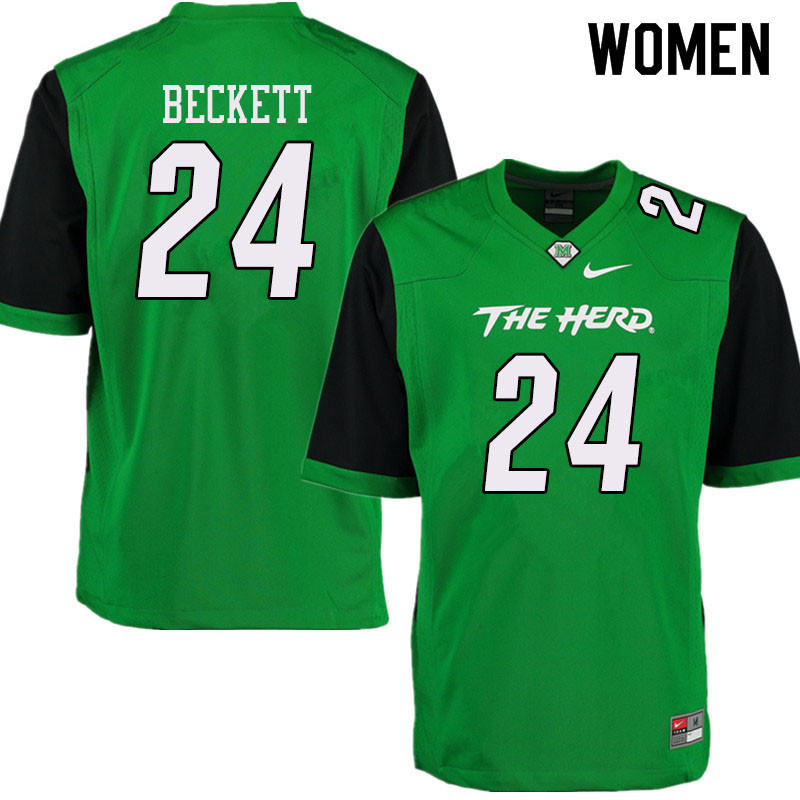 Women #24 Tavante Beckett Marshall Thundering Herd College Football Jerseys Sale-Green
