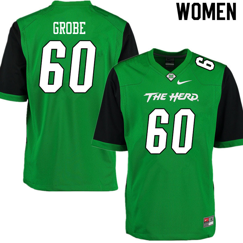 Women #60 Cameron Grobe Marshall Thundering Herd College Football Jerseys Sale-Gren