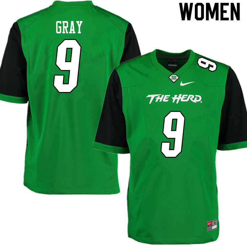 Women #9 Charlie Gray Marshall Thundering Herd College Football Jerseys Sale-Gren
