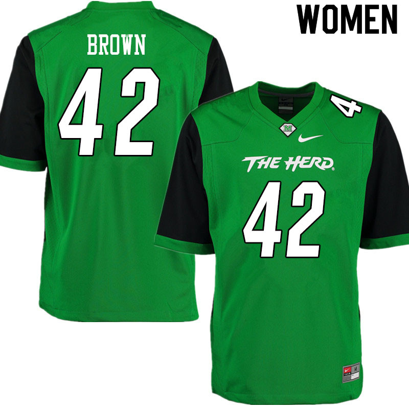 Women #42 Eric Brown Marshall Thundering Herd College Football Jerseys Sale-Gren