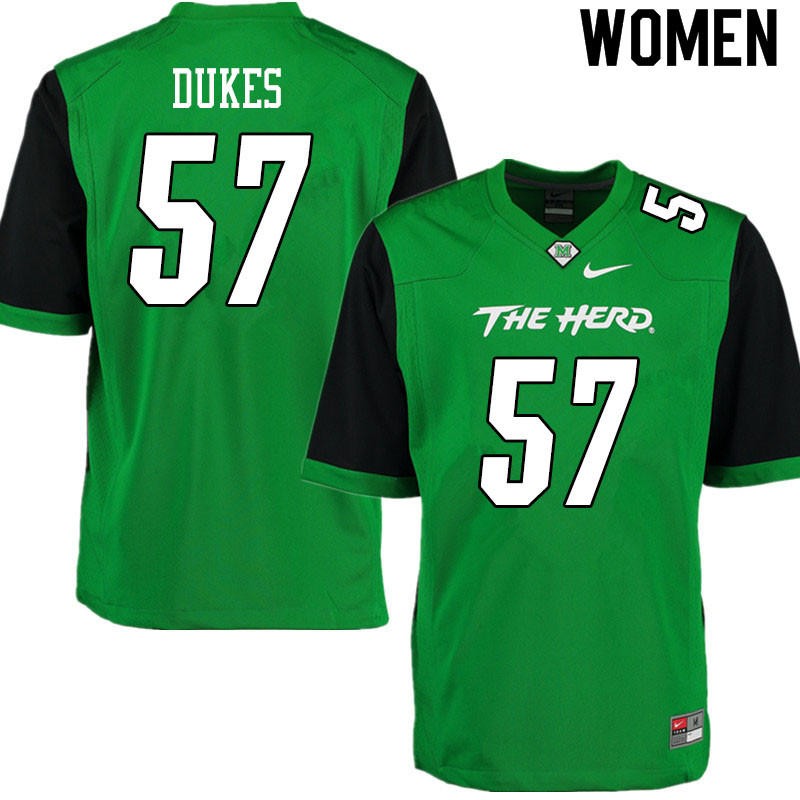 Women #57 J.T. Dukes Marshall Thundering Herd College Football Jerseys Sale-Gren