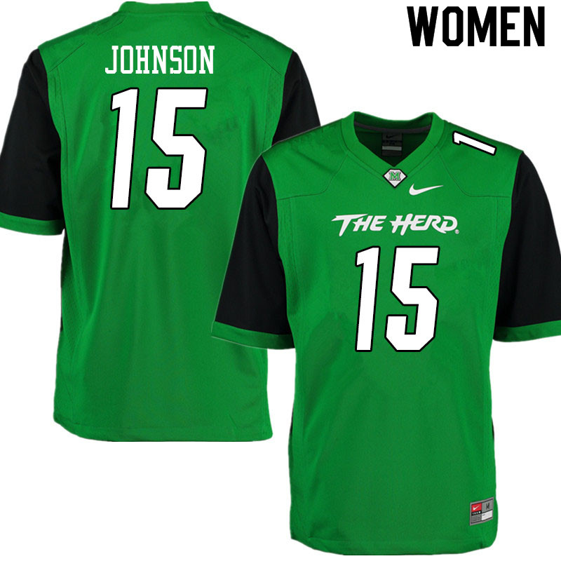 Women #15 TJ Johnson Marshall Thundering Herd College Football Jerseys Sale-Gren