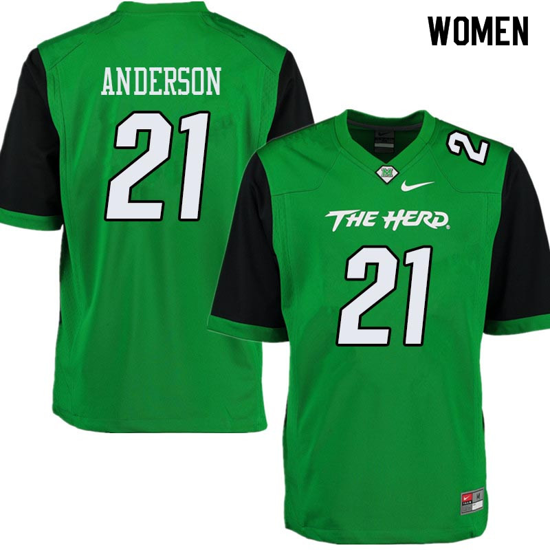 Women #21 Anthony Anderson Marshall Thundering Herd College Football Jerseys Sale-Green