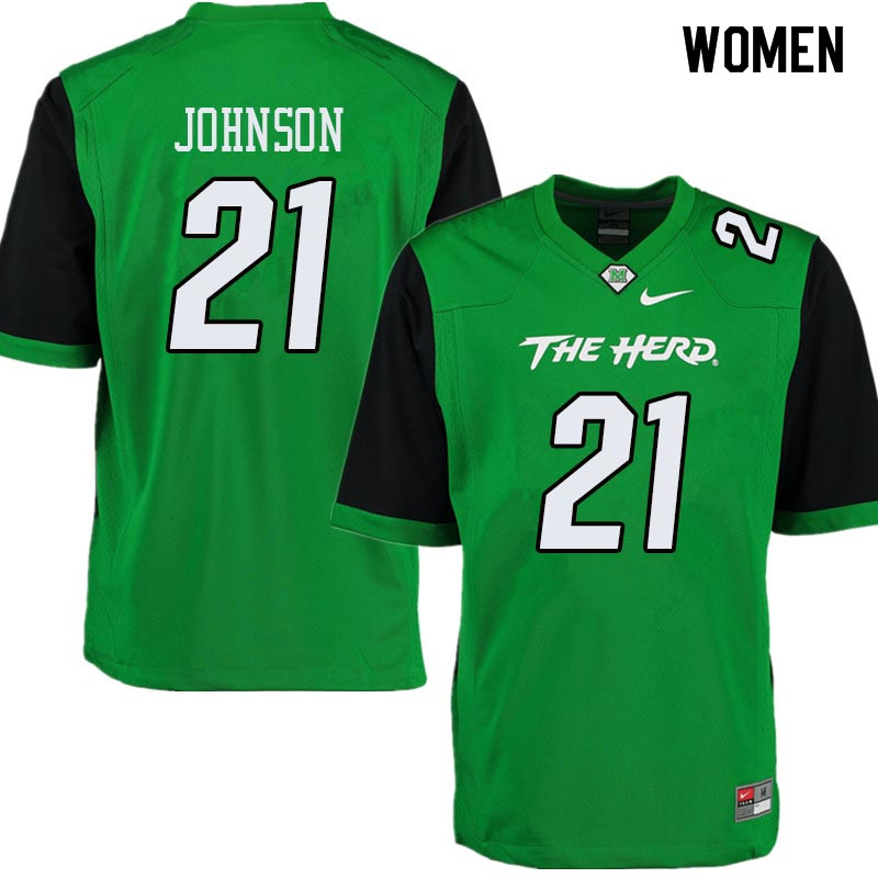 Women #21 Artis Johnson Marshall Thundering Herd College Football Jerseys Sale-Green
