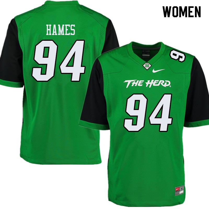 Women #94 Channing Hames Marshall Thundering Herd College Football Jerseys Sale-Green