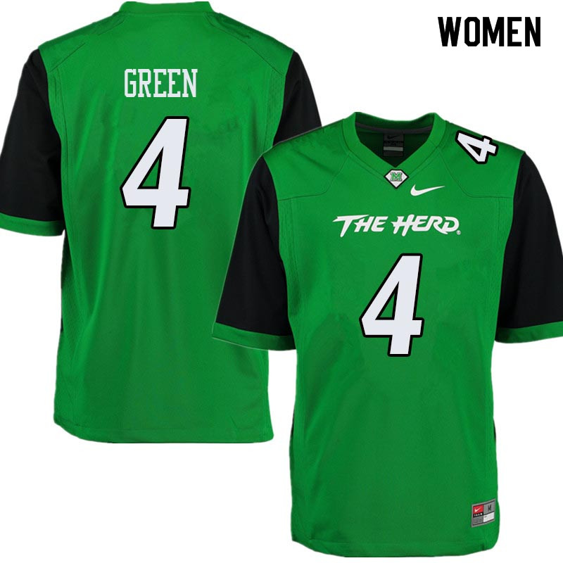 Women #4 Donquell Green Marshall Thundering Herd College Football Jerseys Sale-Green