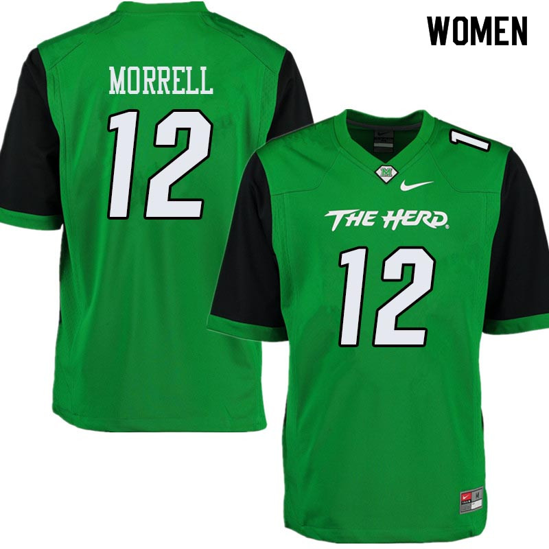 Women #12 Garet Morrell Marshall Thundering Herd College Football Jerseys Sale-Green
