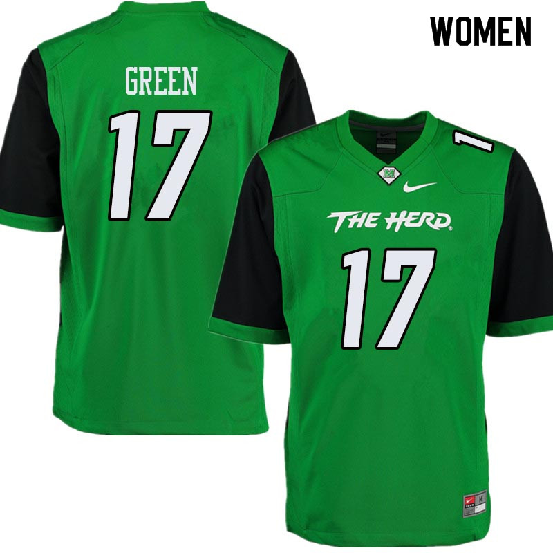 Women #17 Isaiah Green Marshall Thundering Herd College Football Jerseys Sale-Green