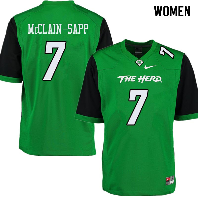Women #7 Jaylon McClain-Sapp Marshall Thundering Herd College Football Jerseys Sale-Green