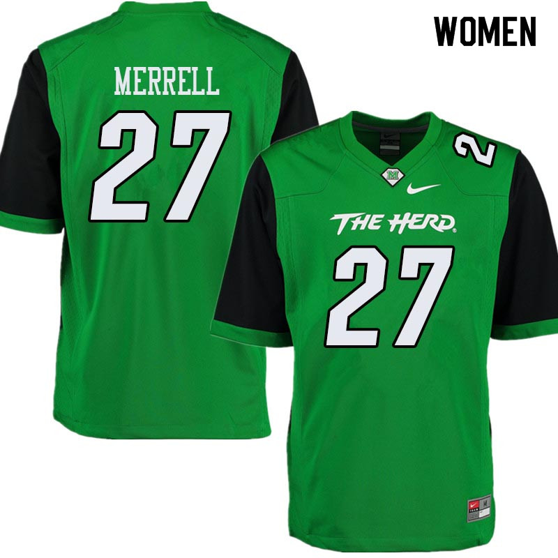 Women #27 Kereon Merrell Marshall Thundering Herd College Football Jerseys Sale-Green