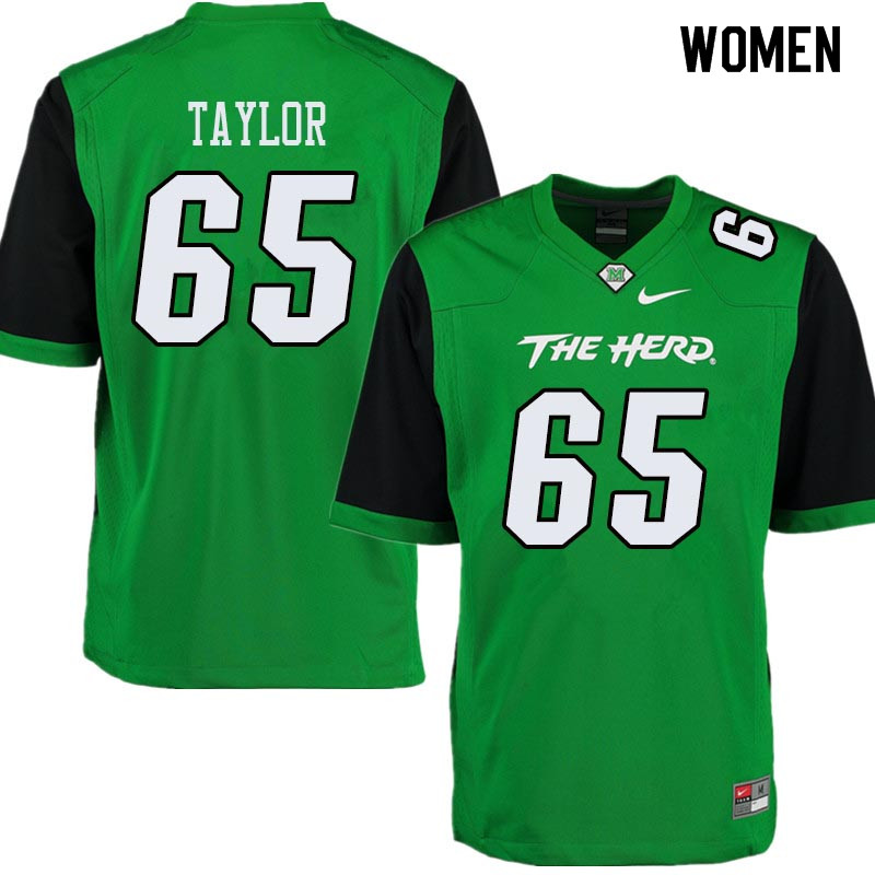 Women #65 Kyron Taylor Marshall Thundering Herd College Football Jerseys Sale-Green