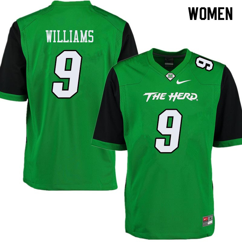 Women #9 Marcel Williams Marshall Thundering Herd College Football Jerseys Sale-Green
