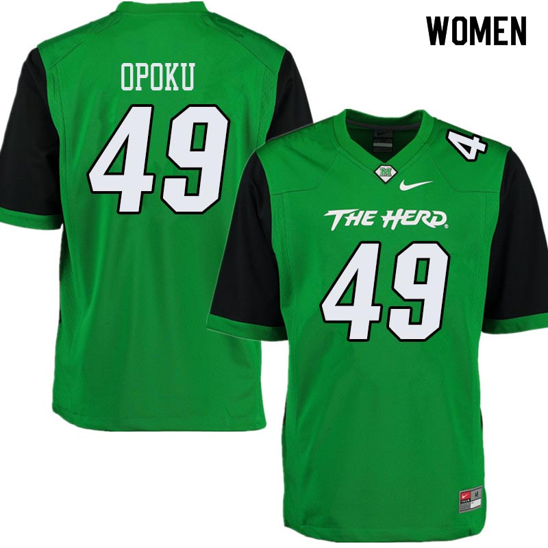 Women #49 Nat Opoku Marshall Thundering Herd College Football Jerseys Sale-Green