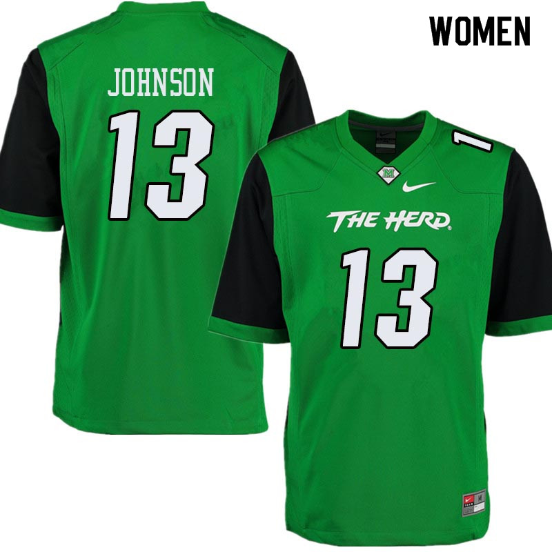 Women #13 Nazeeh Johnson Marshall Thundering Herd College Football Jerseys Sale-Green