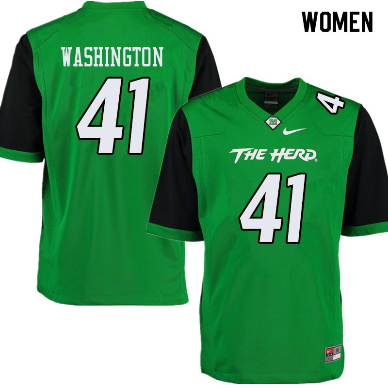 Women #41 Nirion Washington Marshall Thundering Herd College Football Jerseys Sale-Green