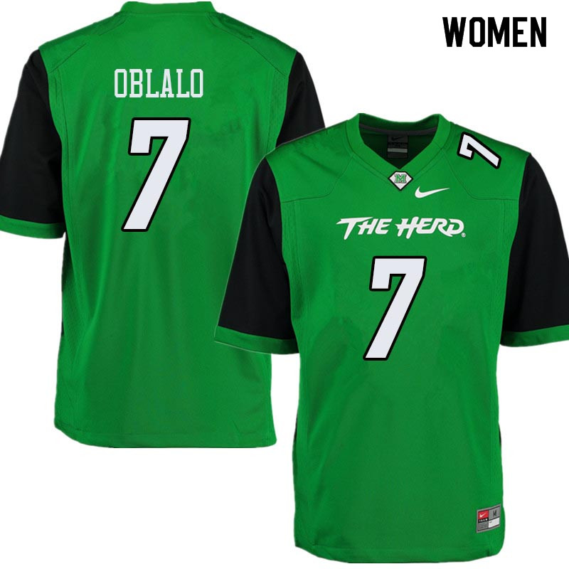 Women #7 Obi Oblalo Marshall Thundering Herd College Football Jerseys Sale-Green