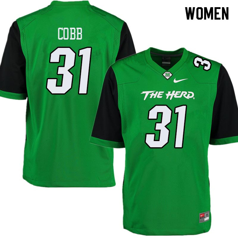 Women #31 Omari Cobb Marshall Thundering Herd College Football Jerseys Sale-Green