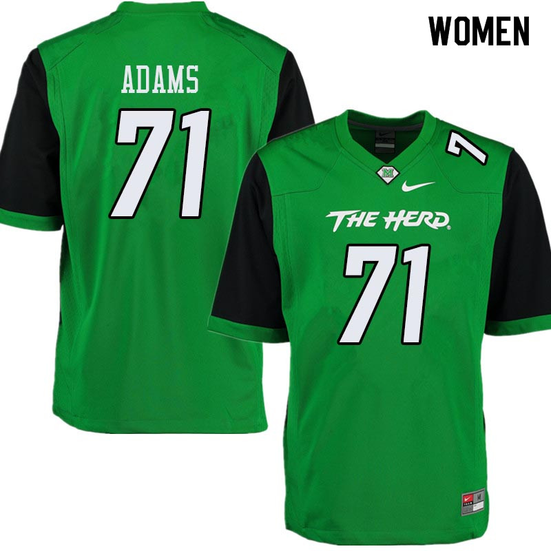 Women #71 Tarik Adams Marshall Thundering Herd College Football Jerseys Sale-Green