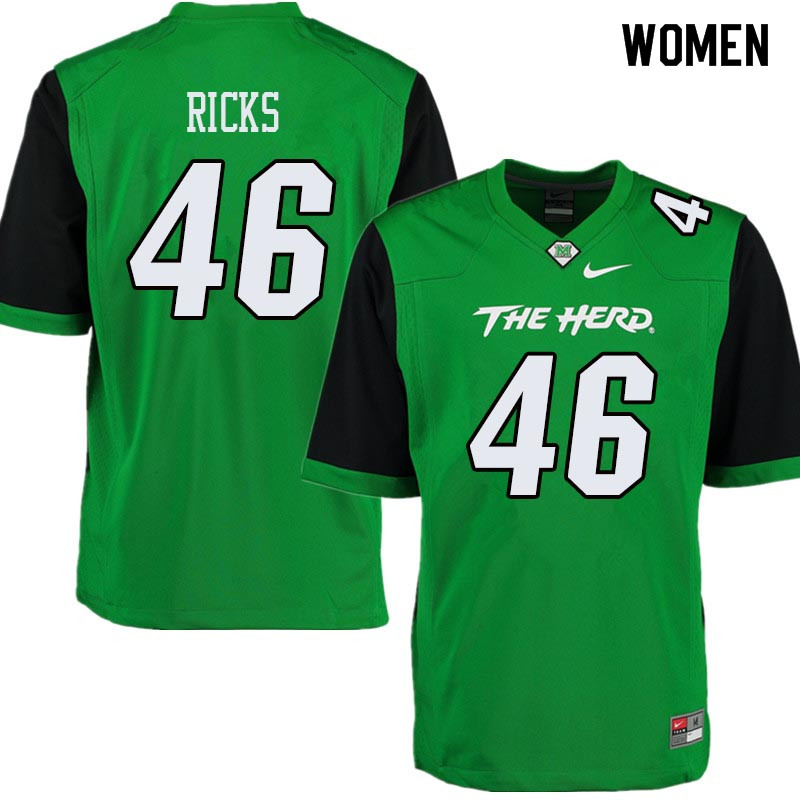 Women #46 Terence Ricks Marshall Thundering Herd College Football Jerseys Sale-Green