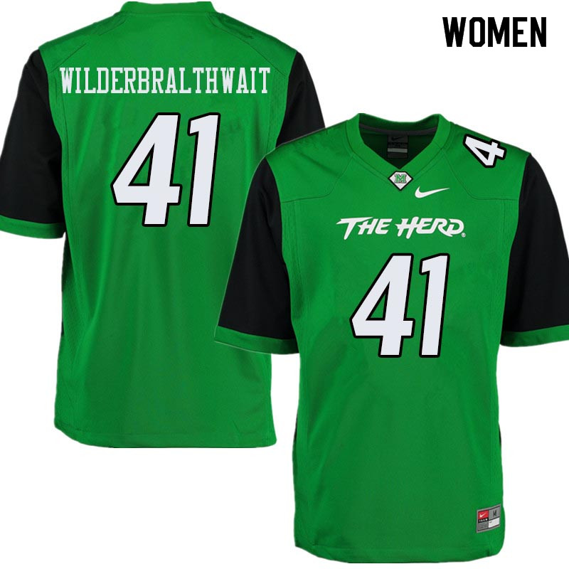 Women #41 Trent Wilderbralthwait Marshall Thundering Herd College Football Jerseys Sale-Green