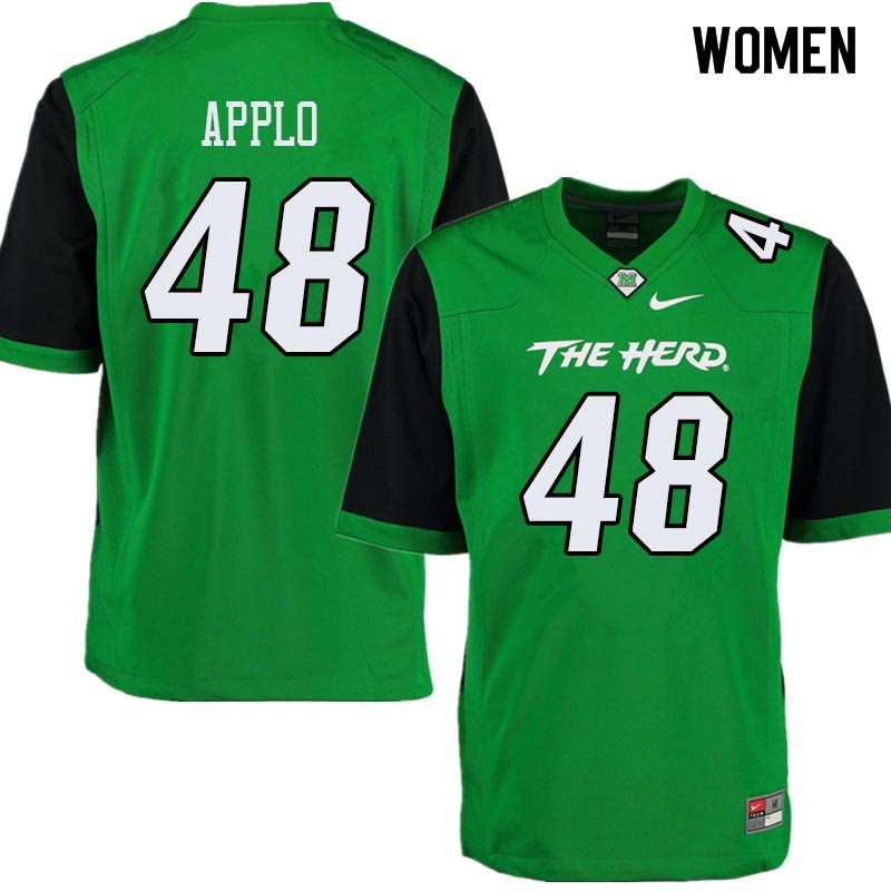 Women #48 Zach Applo Marshall Thundering Herd College Football Jerseys Sale-Green