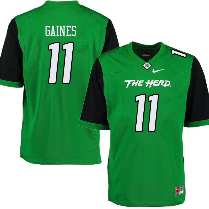 Men #11 Xavier Gaines Marshall Thundering Herd College Football Jerseys Sale-Green