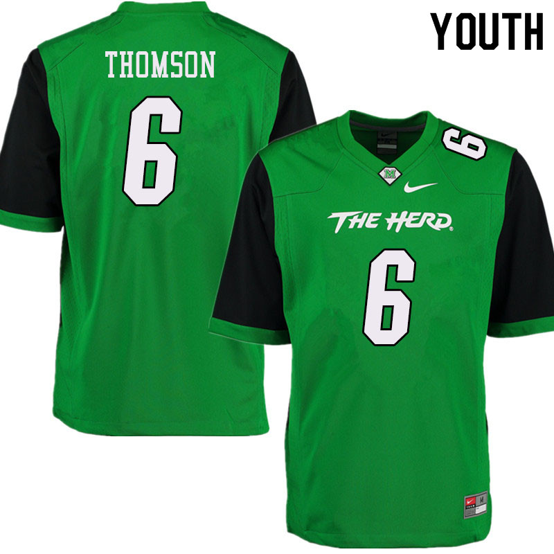 Youth #6 Alex Thomson Marshall Thundering Herd College Football Jerseys Sale-Green