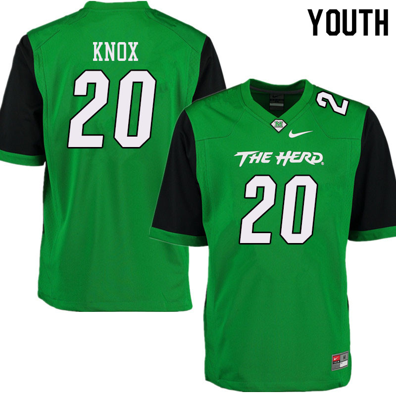 Youth #20 Brenden Knox Marshall Thundering Herd College Football Jerseys Sale-Green