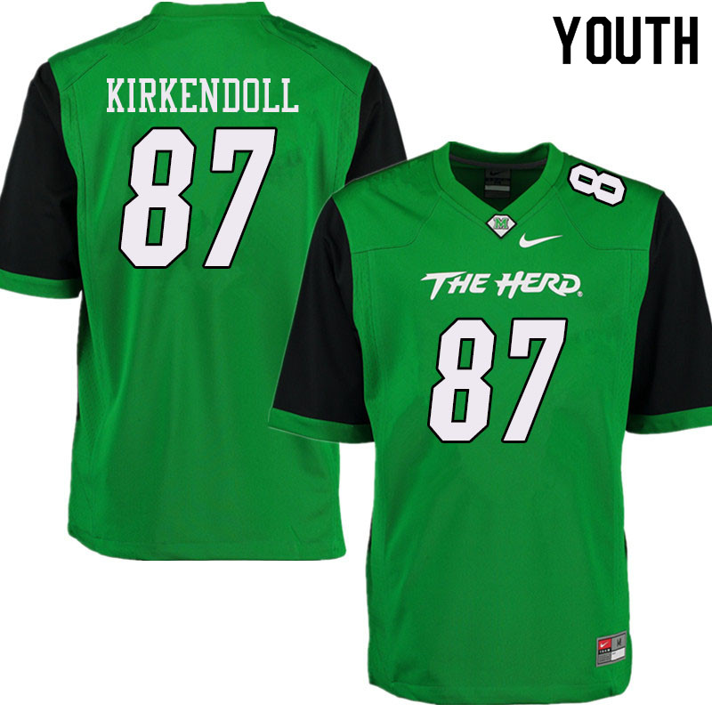Youth #87 Jacob Kirkendoll Marshall Thundering Herd College Football Jerseys Sale-Green