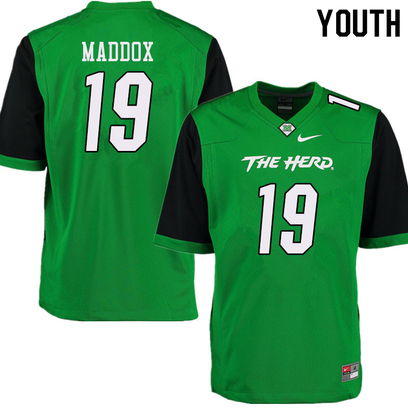 Youth #19 Jeremiah Maddox Marshall Thundering Herd College Football Jerseys Sale-Green